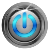 blue power button circle