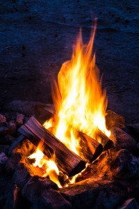 Flames of campfire