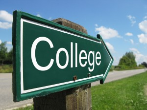 College signpost along a rural road