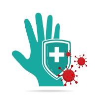 Hand and shield using antibacterial, virus icon, hygiene, medica